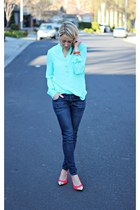 mint Forever 21 shirt - skinny Apricot Lane Botique jeans - red Target heels