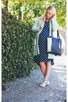 mint Choies coat - dotted Target dress - lilac Ruche heels