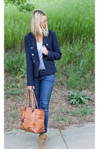 blue Forever 21 blazer - tan Zara boots - blue Apricot Lane Botique jeans