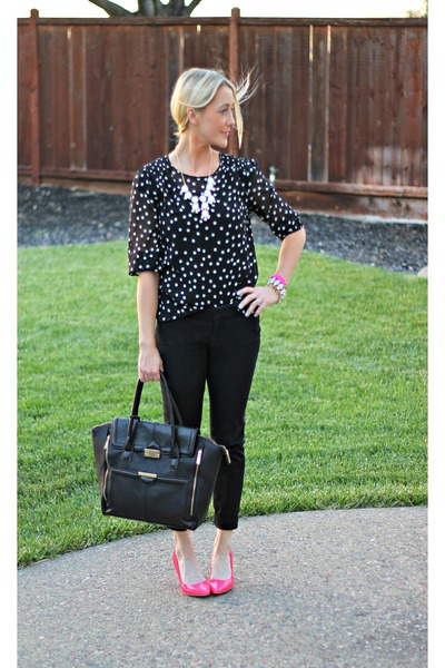 dots Forever 21 shirt - black Top Shop bag - black Old Navy pants