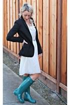 green Hunter boots - navy H&M blazer
