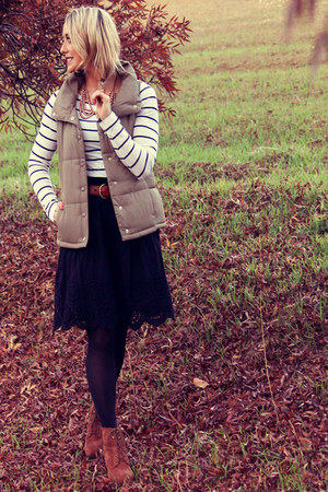 puffy Aeropostale vest - brown Target boots - striped H&M shirt