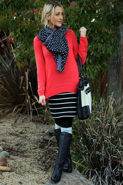 coral H&M sweater - black Forever 21 boots - stripped Forever 21 skirt