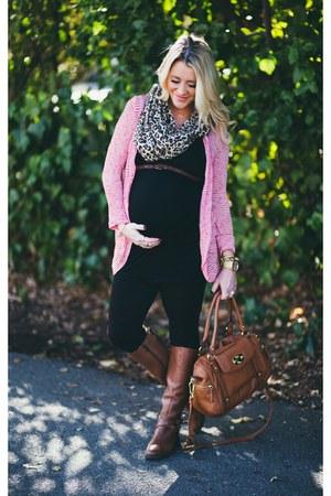 black destination maternity leggings - pink Nordstrom cardigan - tank H&M top