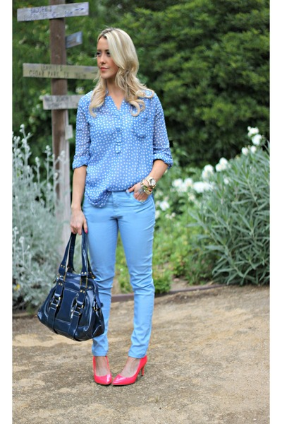 coral H&M shoes - dotted Kiki LaRue shirt - blue Forever 21 pants