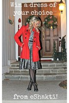 grey eShakti dress - red H&M jacket - black DBSshoes heels