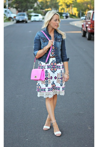 pink Target bag - tribal Style Lately dress - denim Forever 21 jacket