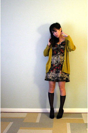 gold sparrow cardigan - brown Urban Outfitters dress - black Target socks - blac