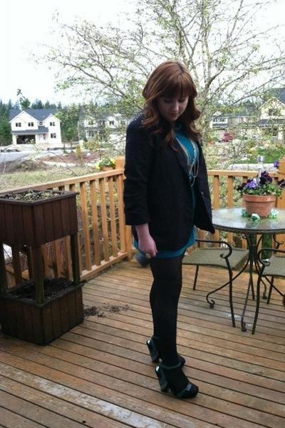 Forever 21 dress - JC Pennys blazer - Betsey Johnson tights - vintage wedges