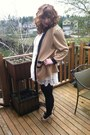 Black-ross-pumps-white-forever-21-dress-tan-vintage-cardigan