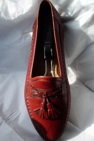 brick red euc leather santoni loafers
