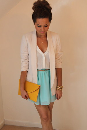 warehouse blazer - Ebay bag - Miss Guided skirt - Etsy bracelet