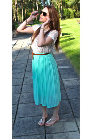 new look skirt - Ray Ban sunglasses - H&M belt - Glamorous top