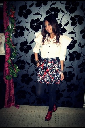 black socks - white blouse - charcoal gray skirt - ruby red heels