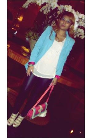 sky blue blazer - black leggings - salmon bag - cream heels - eggshell blouse