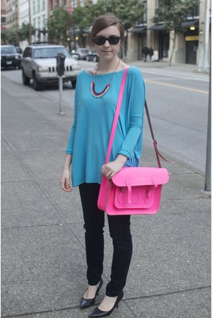 fluorescent Cambridge Satchel Company bag - leggings banana republic jeans