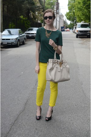 yellow neon Gap pants - green striped banana republic shirt