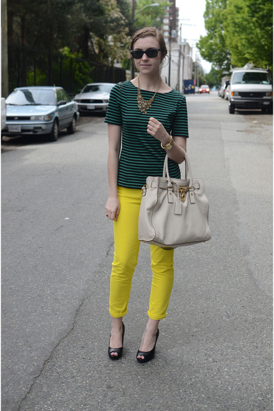 Yellow Neon Gap Pants, Green Striped Banana Republic Shirts ...
