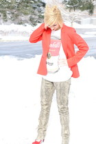red blazer H&M jacket - Forever 21 top - leopard print rock and republic pants