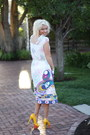 Ivory-floral-dress-downeast-dress-yellow-polka-dot-heels-ami-clubwear-heels