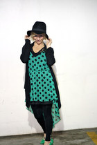green polka dots ShawtynStilettos dress - black boho hat H&M hat