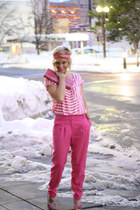 hot pink stripes Forever 21 top - hot pink H&M pants