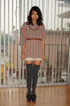 vintage dress - vintage belt - Forever 21 socks - Platforms shoes - slip intimat
