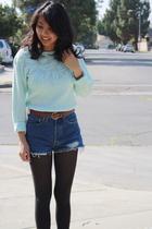 vintage sweater - Levis 501 shorts - vintage belt - Deena & Ozzy boots
