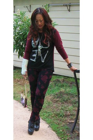 gray unearthed bracelet - black Bakers boots - maroon Indie sweater