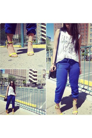 white Forever 21 shirt - blue Forever 21 pants - yellow Prabal Gurung sandals