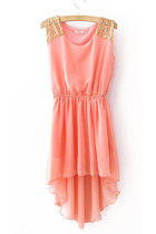 2013 New Pink Sequined Shoulder Sleeveless Dipped Hem Dress