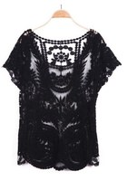 Black/Apricot Short Sleeve Hollow Crochet Lace Top