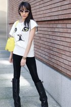  White Short Sleeve Cat Face Print T-Shirt