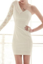White Lace One Shoulder Asymmetrical Bodycon Dress
