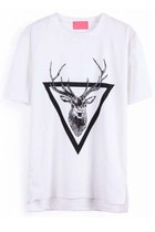White Short Sleeve Triangle Deer Print T-Shirt