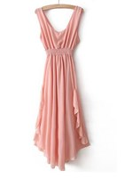 Pink V Neck Bandeau Ruffles Chiffon Dress