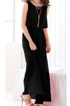 Black Bohenmia Pleated Princess Chiffon Maxi Dress