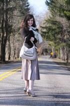 BCBGMAXAZRIA sweater - BCBGMAXAZRIA scarf - coach bag - Carlos Santana heels - l