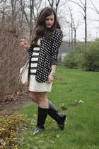 rain sperry boots - striped lace BCBGMAXAZRIA dress - polka dot modcloth blazer