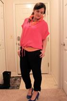 pink silk tunic BCBGMAXAZRIA shirt - orange ruffled J Crew shirt - trouser BCBGM