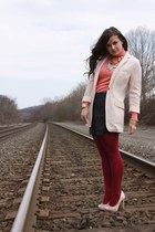 J Crew sweater - peach H&M blazer - HUE tights - silk Forever21 shorts - satin b