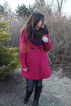 wedge Aldo boots - hot pink bow Guess coat - MEK jeans - BCBGMAXAZRIA sweater -