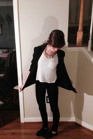 black long boyfriend H&M blazer - black TOMS shoes