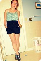 green Gap top - black Alice  Olivia shorts - green accessories - silver Steve Ma