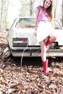 Red-cow-girl-boots-white-strapless-free-people-dress-white-thrifted-belt