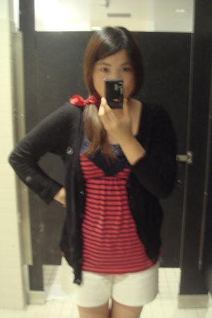 red accessories - black vintage cardigan - red abercrombie and fitch top - top -