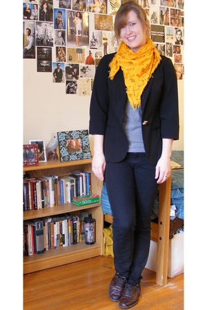 black J Crew pants - black Zara jacket - gold scarf - brown thrifted shoes - gra