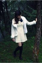 white vintage dress - white unknown coat - black Topshop socks