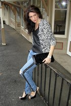 Bebe jeans - leopard print H&M sweater - black leather tank Urban Outfitters top
