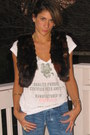 Blue-citizens-of-humanity-jeans-white-h-m-shirt-dark-brown-forever-21-vest